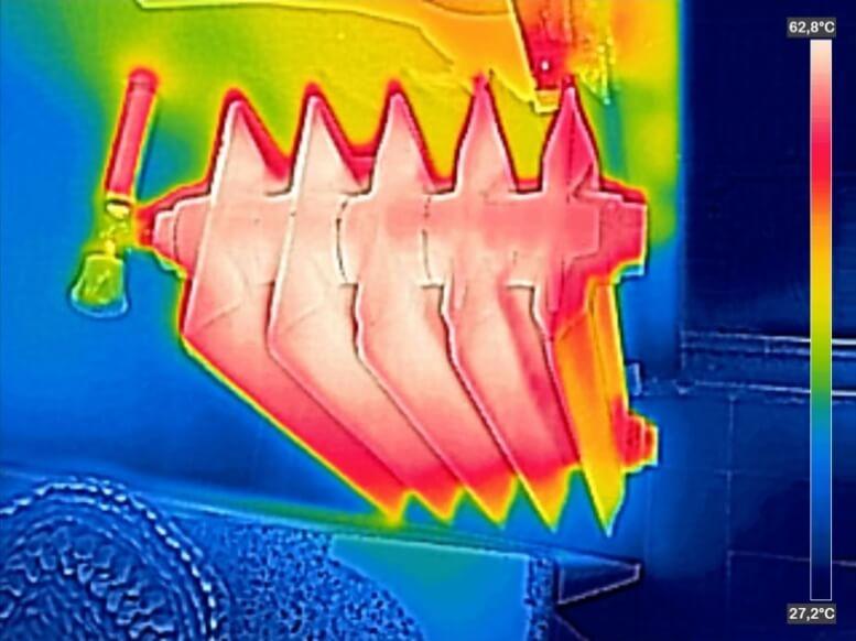 Hete radiator via thermoview