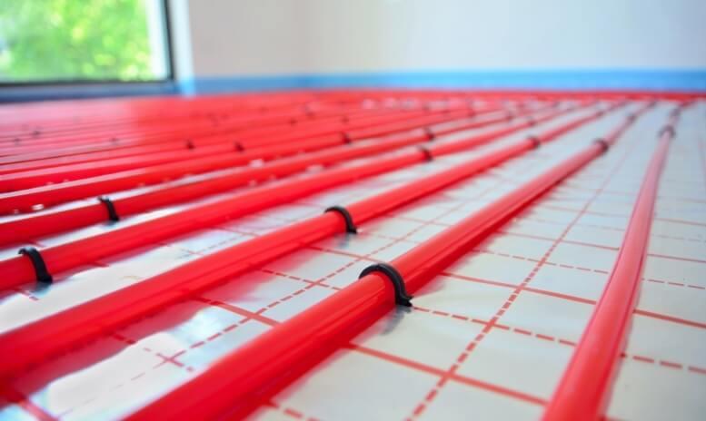 Voorbeeld tackerplaat rood vloerverwarming